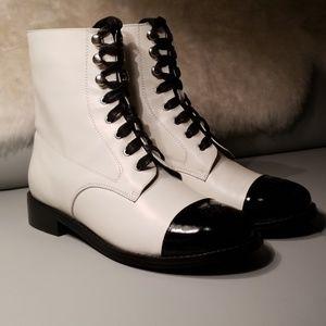 Chanel Lace Up Boots Blackwhite   Poshmark